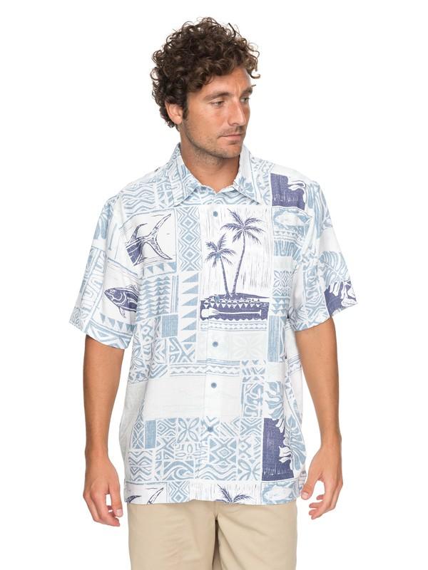0 Waterman Tropic Mix - Short Sleeve Shirt Blue EQMWT03133 Quiksilver