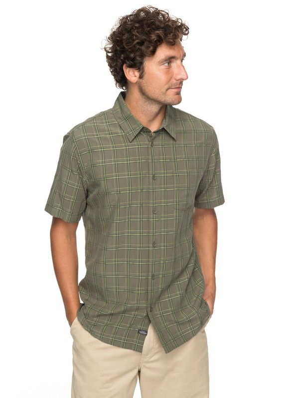 0 Waterman Checkedout Short Sleeve Shirt Green EQMWT03134 Quiksilver