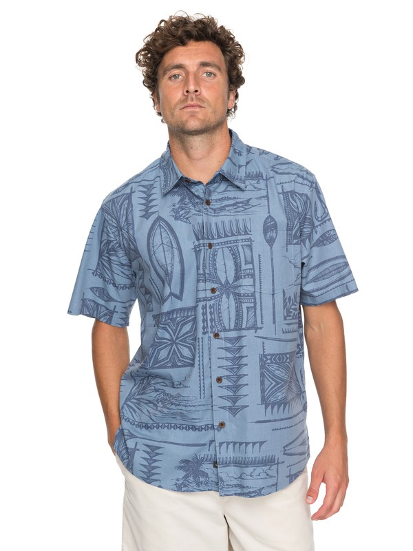 0 Waterman Surfyard Stack Short Sleeve Shirt Blue EQMWT03136 Quiksilver