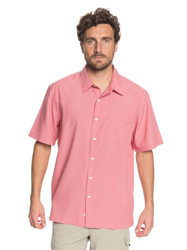 0 Waterman Cane Island Short Sleeve Shirt Pink EQMWT03149 Quiksilver
