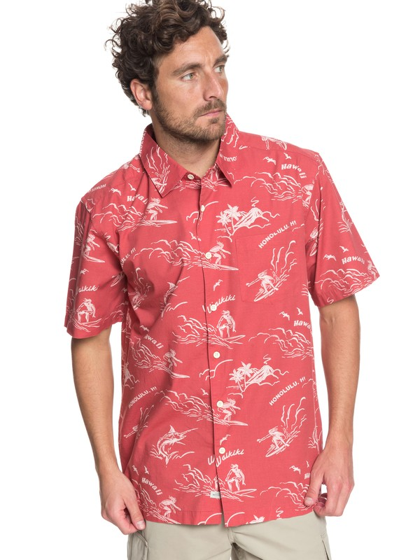 0 Waterman Town All Day - Short Sleeve Shirt Pink EQMWT03154 Quiksilver