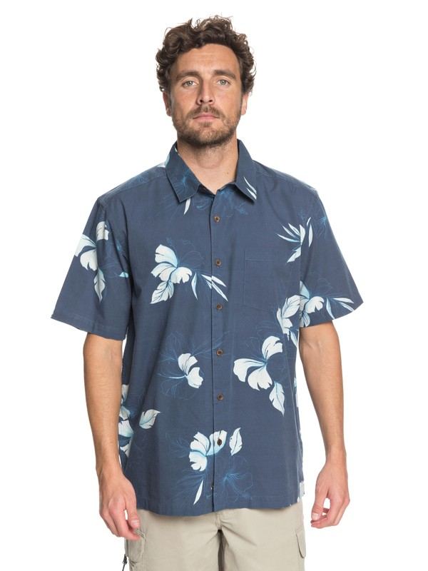 0 Waterman Kiribati Lagoon - Short Sleeve Shirt Blue EQMWT03155 Quiksilver