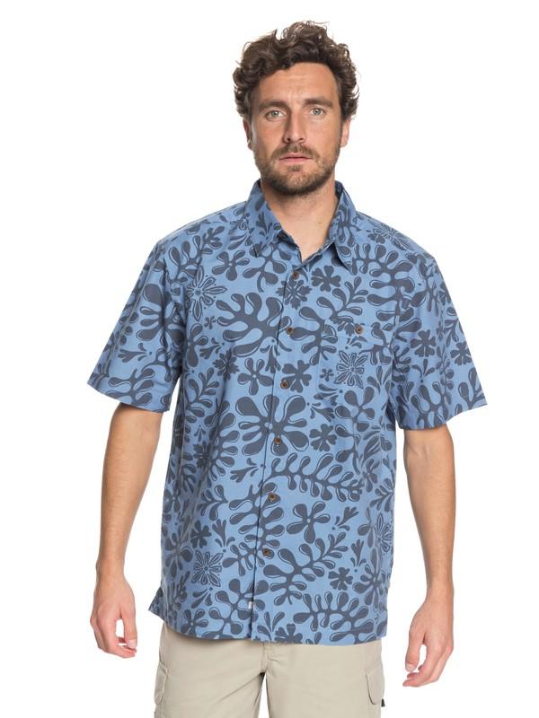 0 Waterman Tiki Inda Forrest Short Sleeve Shirt Blue EQMWT03156 Quiksilver