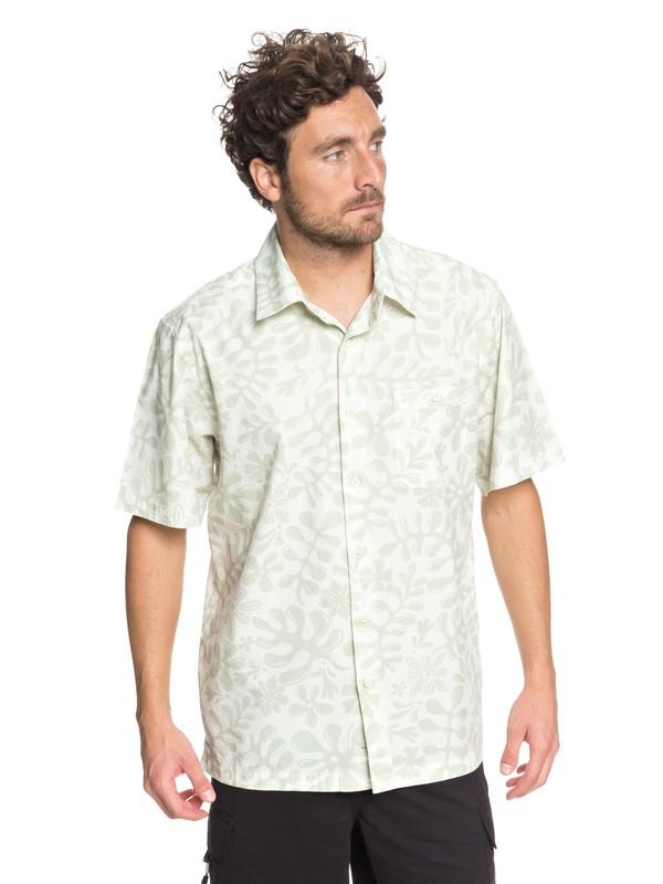 0 Waterman Tiki Inda Forrest Short Sleeve Shirt Green EQMWT03156 Quiksilver