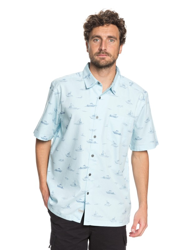 0 Waterman Channel Cruising Technical Short Sleeve Shirt Blue EQMWT03157 Quiksilver