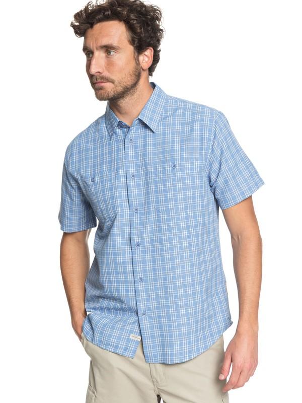 0 Waterman Wake Plaid - Technical Short Sleeve Shirt Blue EQMWT03164 Quiksilver