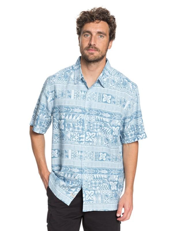 0 Waterman Aku Aku Fish - Short Sleeve Shirt Blue EQMWT03166 Quiksilver