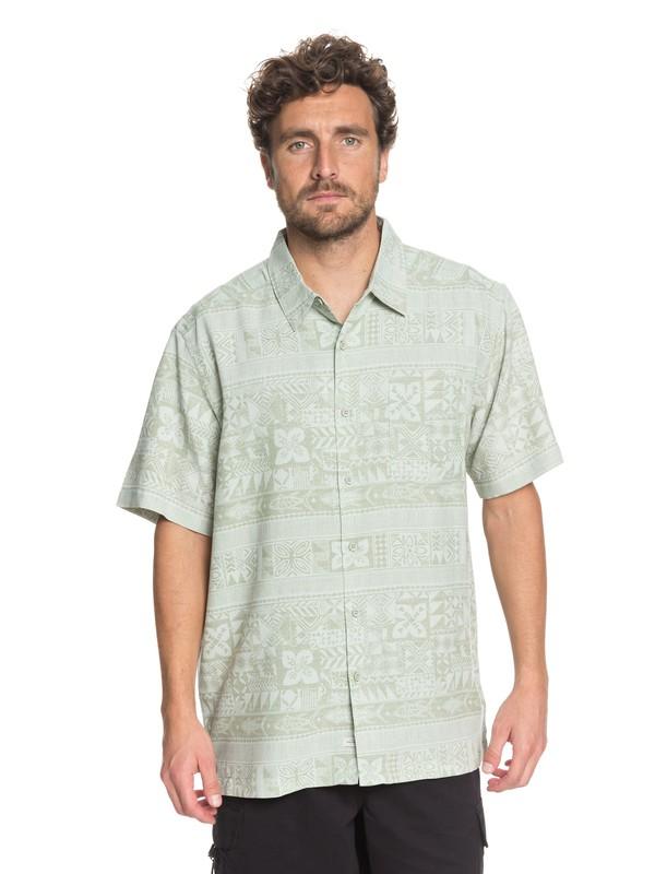 0 Waterman Aku Aku Fish Short Sleeve Shirt Green EQMWT03166 Quiksilver