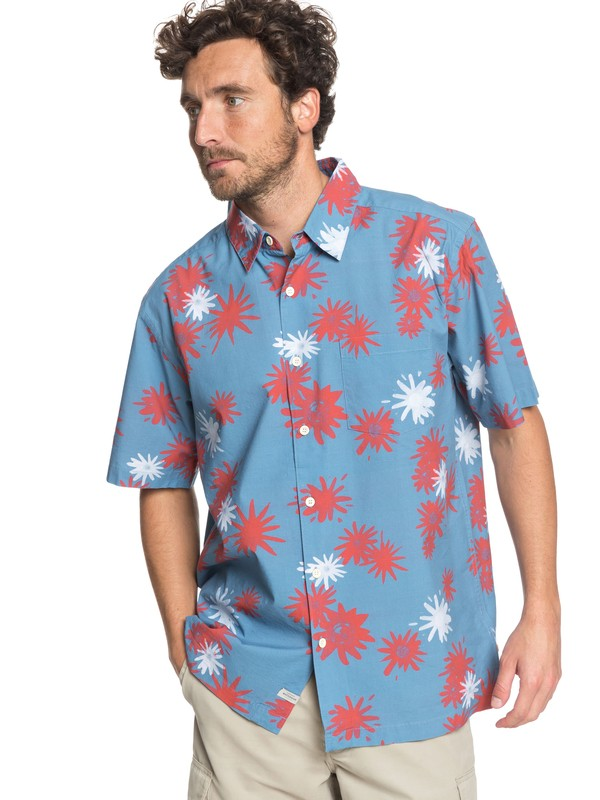 0 Waterman Floral Fireworks - Short Sleeve Shirt Blue EQMWT03167 Quiksilver