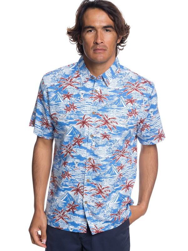 0 Waterman Sumo Surfers Short Sleeve Shirt Blue EQMWT03171 Quiksilver