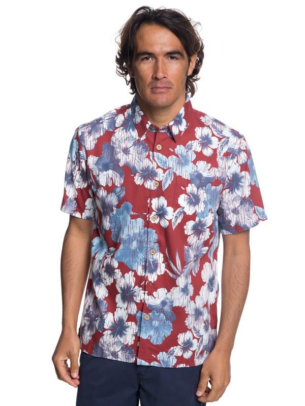 0 Camisa Manga Corta Rain Flowers  Waterman Rojo EQMWT03172 Quiksilver