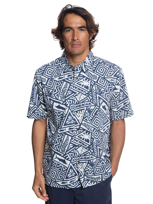 0 Waterman Ma Tama Short Sleeve Shirt Blue EQMWT03173 Quiksilver