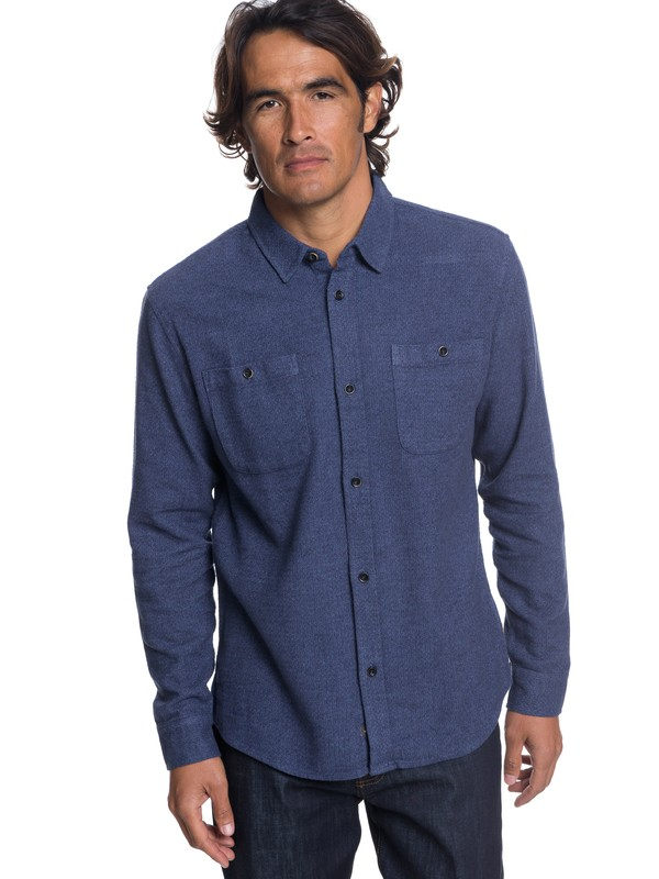 0 Waterman Irish Rocks Flannel Long Sleeve Shirt Blue EQMWT03177 Quiksilver