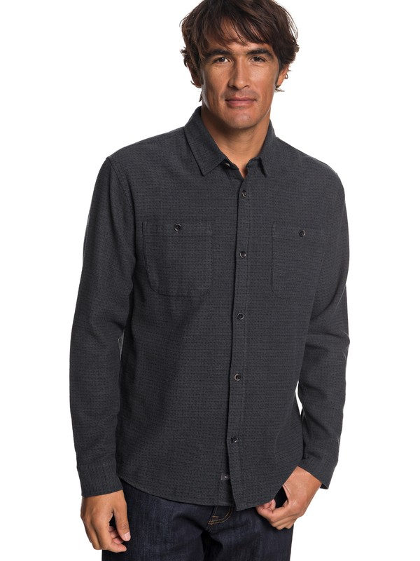 0 Waterman Irish Rocks Flannel Long Sleeve Shirt Black EQMWT03177 Quiksilver