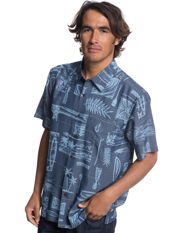0 Waterman Hana Hooks Short Sleeve Shirt Blue EQMWT03185 Quiksilver