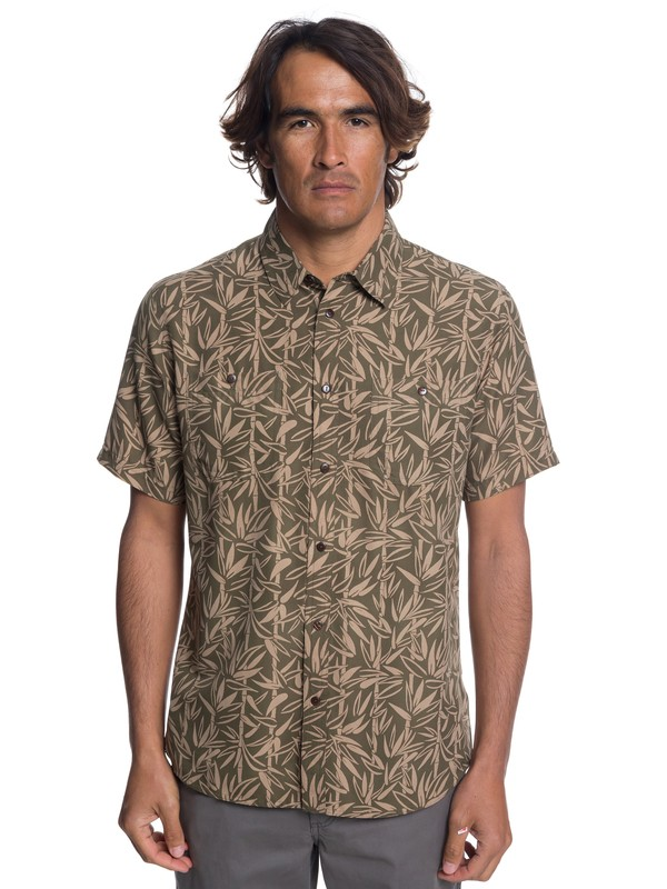0 Waterman Wake Bamboo Fences Technical Short Sleeve Shirt Brown EQMWT03188 Quiksilver