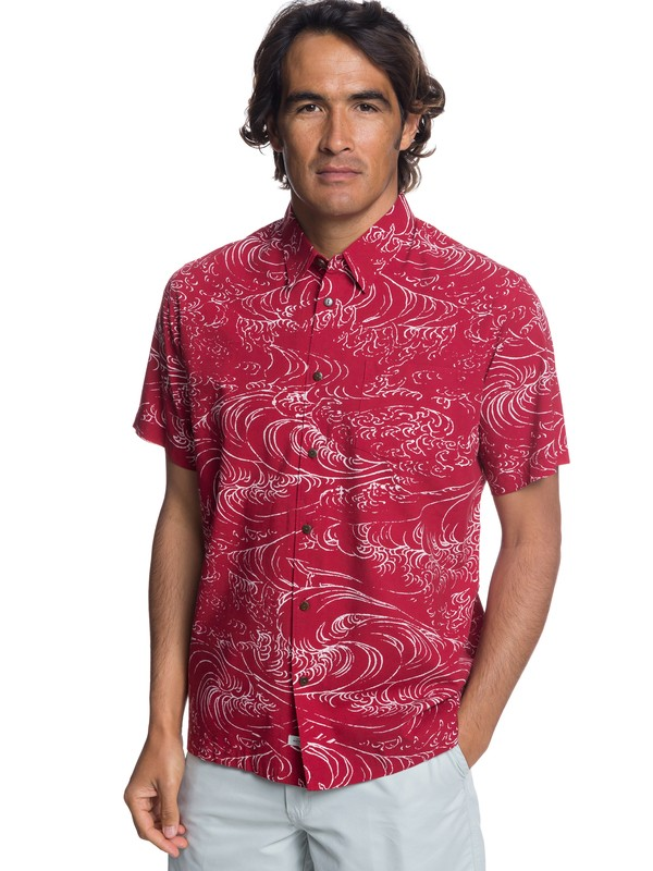 0 Waterman Wind And Waves Short Sleeve Shirt Red EQMWT03192 Quiksilver