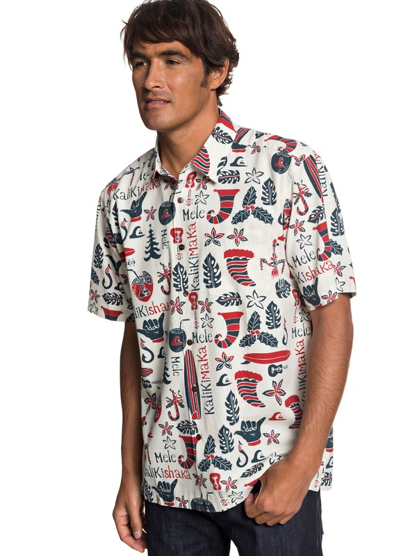 0 Waterman Mele Kalilimaka Short Sleeve Shirt Grey EQMWT03202 Quiksilver