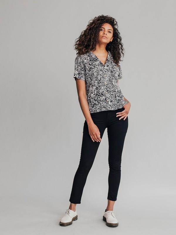 0 Quiksilver Womens - Pantalón Vaquero de corte Ceñido y Talle Alto para Mujer Negro EQWDP03001 Quiksilver