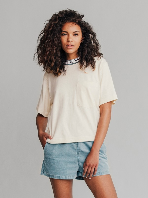 0 Quiksilver Womens Cropped Tee White EQWKT03009 Quiksilver