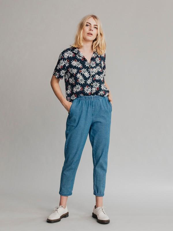 0 Quiksilver Womens - Pantalón de Pana con Corte más Ceñido Hacia el Bajo para Mujer Azul EQWNP03001 Quiksilver