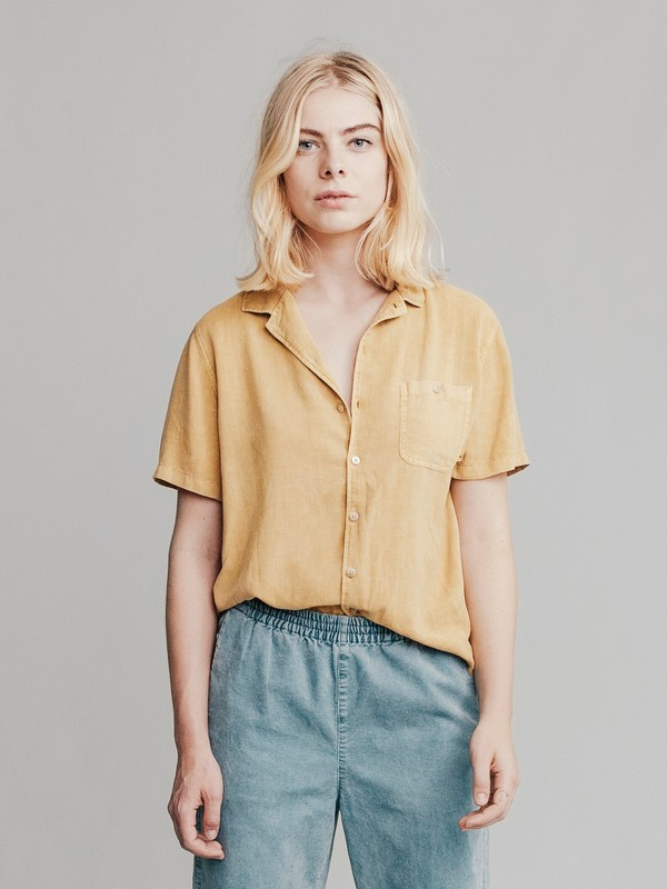 0 Quiksilver Womens Short Sleeve Camp Shirt Yellow EQWWT03002 Quiksilver