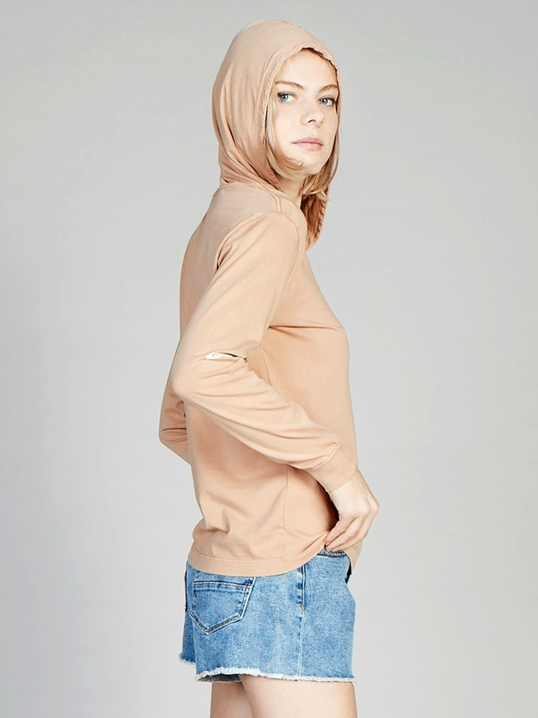 0 Quiksilver Womens Long Sleeve Hooded Tee Brown EQWZT03000 Quiksilver