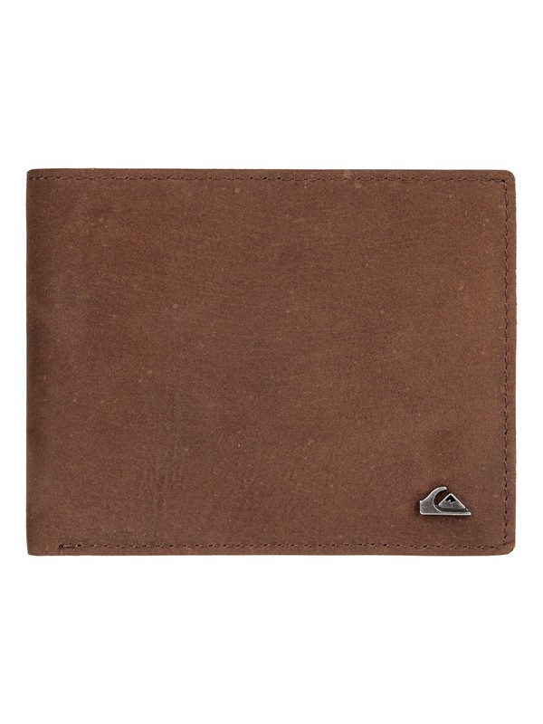 0 Acktor Bi-Fold Leather Wallet Grey EQYAA03696 Quiksilver