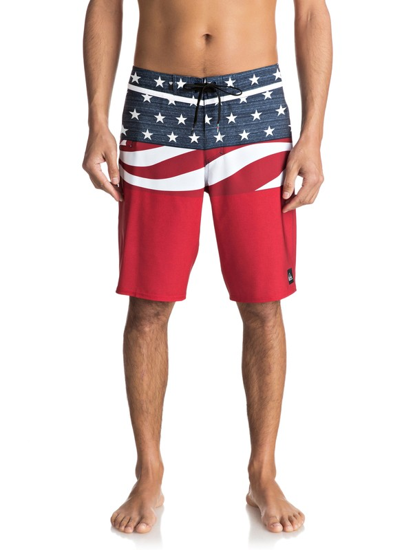 """0 Everyday Blocked Vee 20"""" - Board Shorts Red EQYBS03573 Quiksilver"""