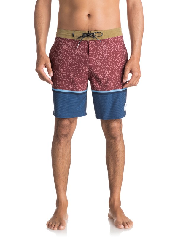 "0 Men's Electric Hippy 18"" Beachshorts Brown EQYBS03837 Quiksilver"