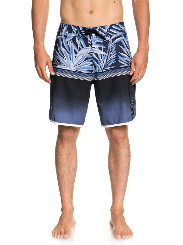 "0 Men's Highline Divide Scallop 19"" Boardshorts Blue EQYBS04014 Quiksilver"