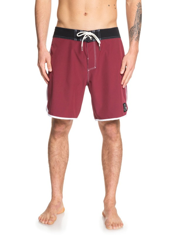 """0 Highline Scallop 18"""" Boardshorts Red EQYBS04081 Quiksilver"""