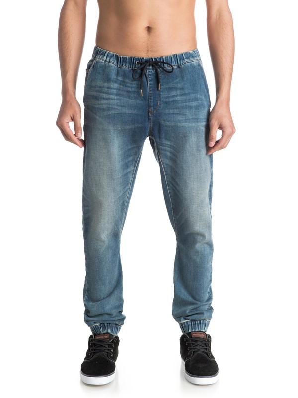 0 Fonic Stormy Blue - Pantalon Molleton Effet Denim Coupe Slim  EQYDP03230 Quiksilver