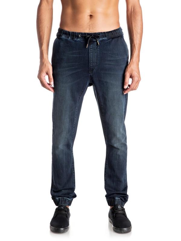 0 Fonic Blue Black - Pantalon de jogging en denim coupe slim  EQYDP03296 Quiksilver