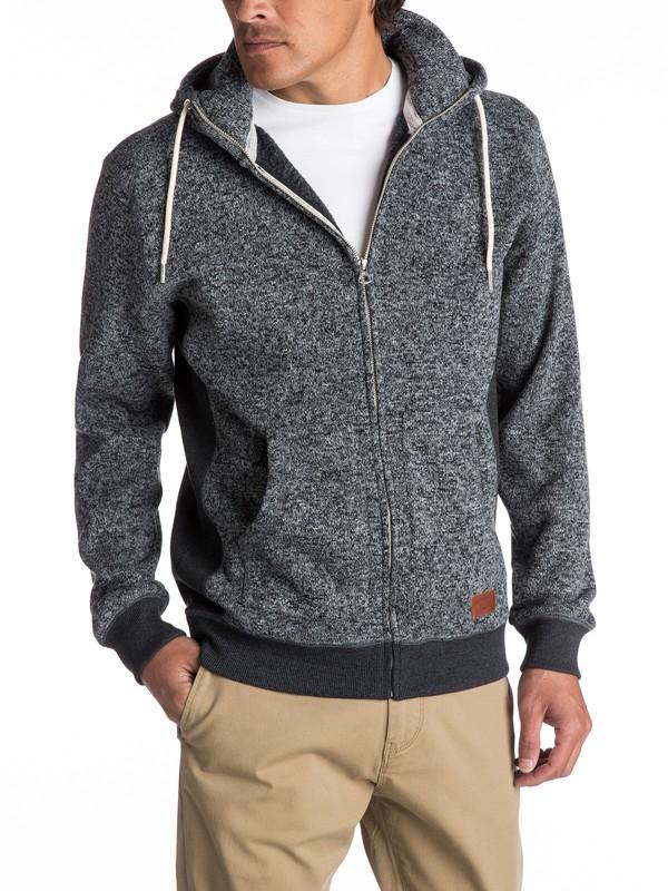 0 Keller Zip-Up Polar Fleece Hoodie Black EQYFT03661 Quiksilver