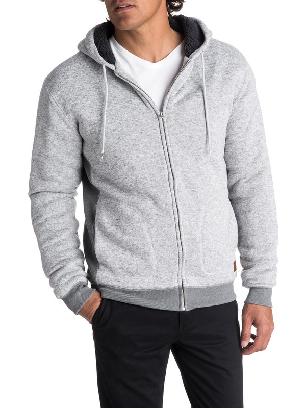 0 Keller Sherpa Zip-Up Polar Fleece Hoodie Grey EQYFT03662 Quiksilver