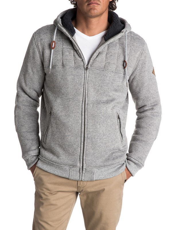 0 Men's New Cypress Snap Quilted Zipped Hoodie Grey EQYFT03723 Quiksilver