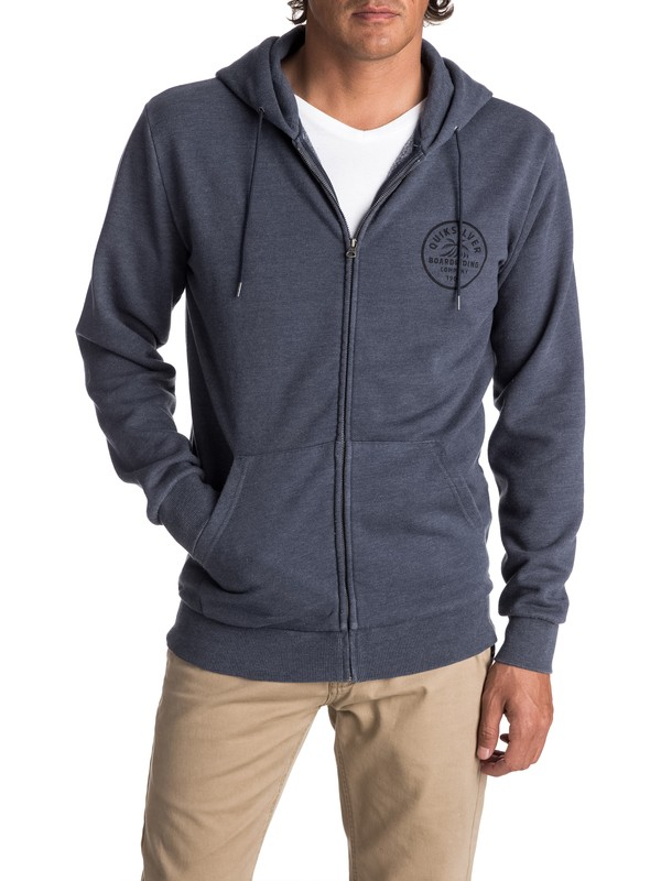 0 Men's Spry Bay Zipped Hoodie Blue EQYFT03724 Quiksilver
