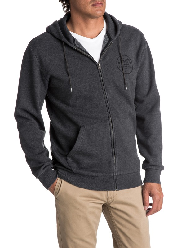 0 Men's Spry Bay Zipped Hoodie Black EQYFT03724 Quiksilver