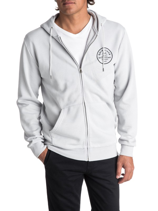 0 Men's Spry Bay Zipped Hoodie Grey EQYFT03724 Quiksilver