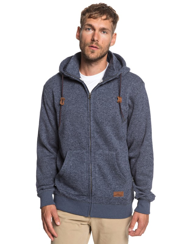 0 Keller Zip-Up Hooded Fleece Blue EQYFT03835 Quiksilver