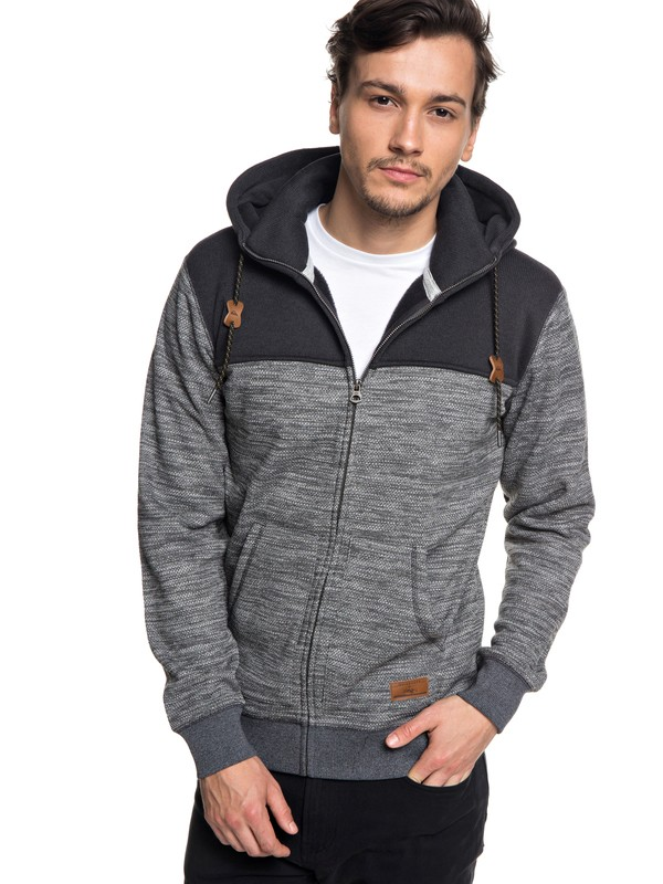 0 Keller Block Zip-Up Hooded Fleece Black EQYFT03839 Quiksilver