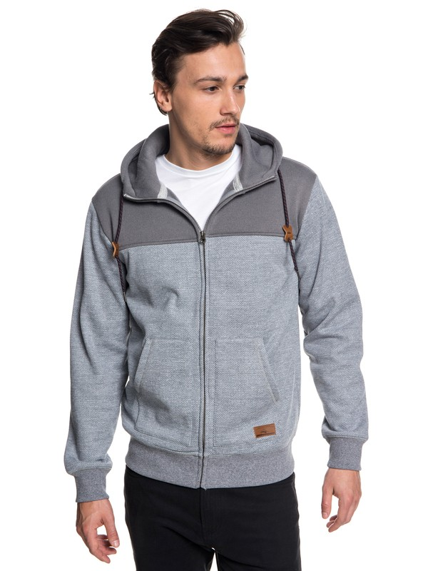 0 Keller Block Zip-Up Hooded Fleece Grey EQYFT03839 Quiksilver