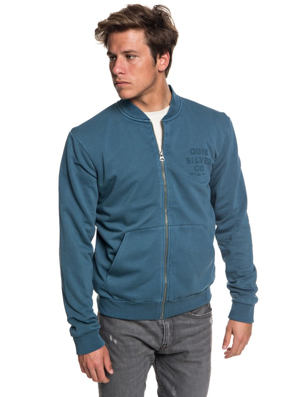0 Men's Aso Plains Zip-Up Bomber Sweatshirt Blue EQYFT03859 Quiksilver