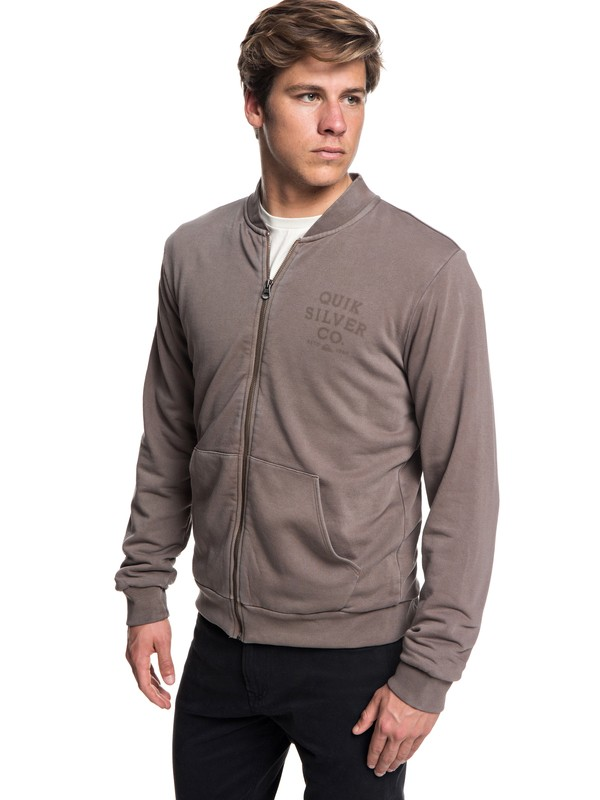 0 Aso Plains Zip-Up Bomber Sweatshirt Grey EQYFT03859 Quiksilver