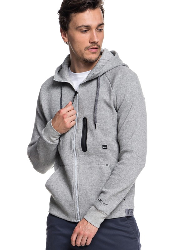 0 Men's Quikbond Technical Zip-Up Hoodie Grey EQYFT03860 Quiksilver