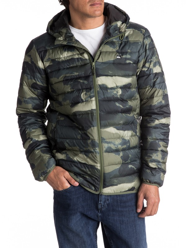 0 Everyday Scaly - Hooded Insulation Jacket for Men Green EQYJK03234 Quiksilver
