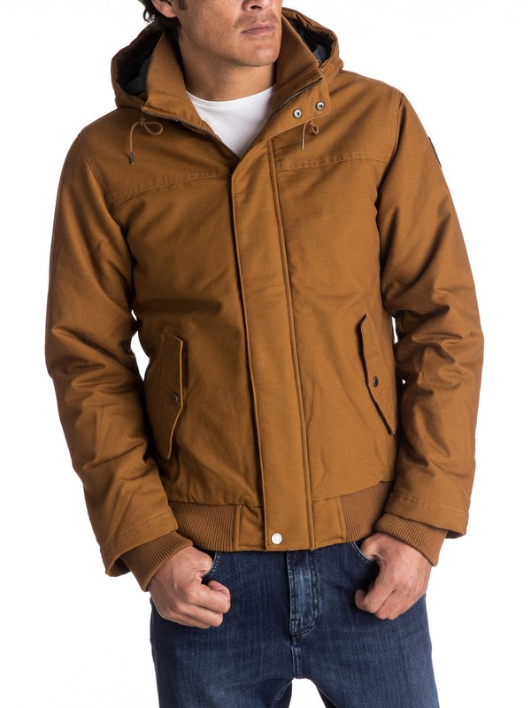 0 Everyday Brooks - Veste bomber à capuche déperlante Marron EQYJK03365 Quiksilver