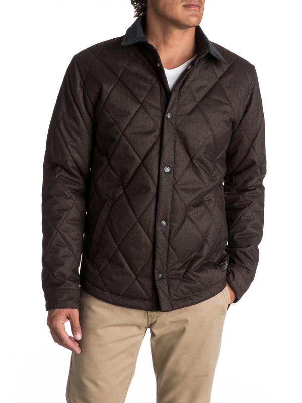 0 Men's Reesor Quilted Overshirt Jacket Brown EQYJK03375 Quiksilver