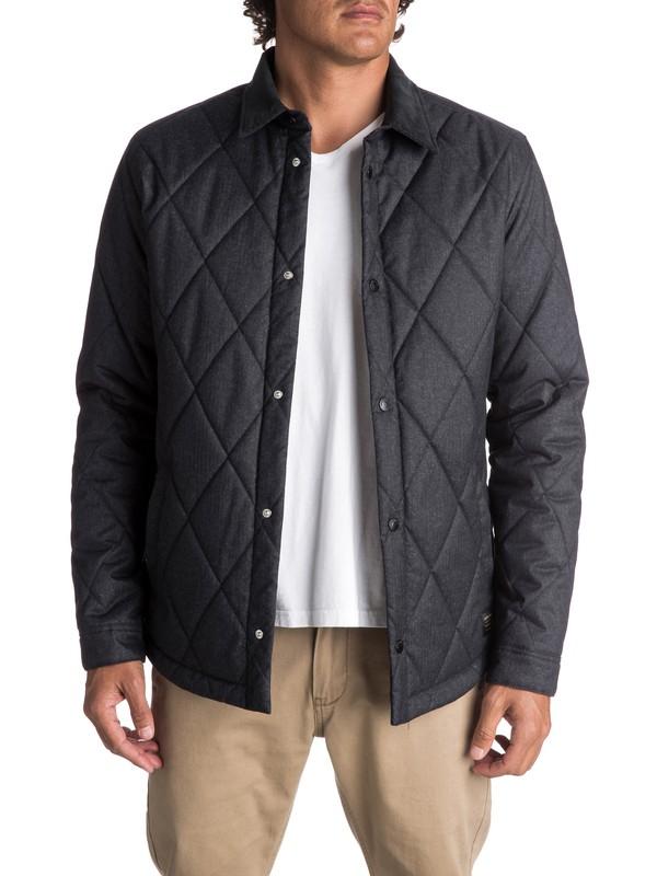 0 Men's Reesor Quilted Overshirt Jacket Black EQYJK03375 Quiksilver